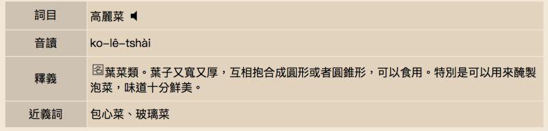 ▲高麗菜的台語發音是「ko-lê-tshài」。(圖/翻攝自教育部網站)