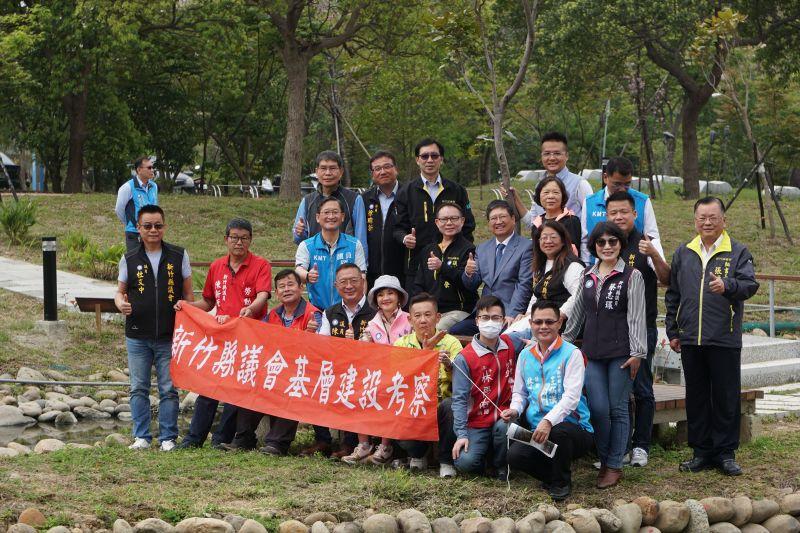 竹縣議會考察東興圳景觀再造,議長張鎮榮期許儘速完工