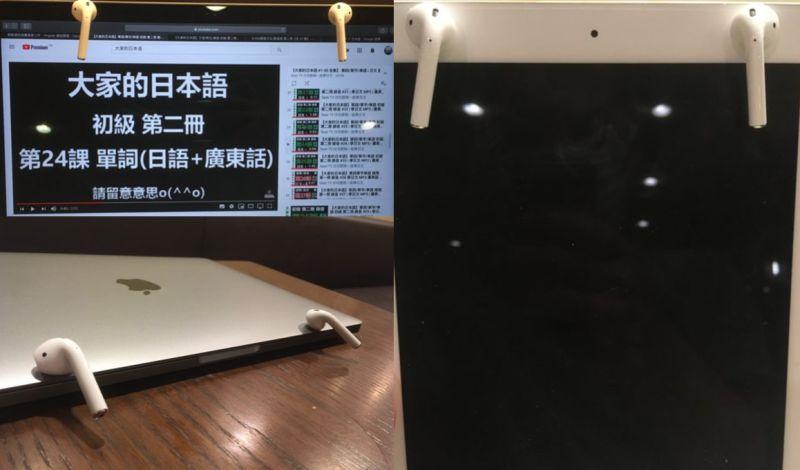 ▲先前就曾有網友在PTT分享AirPods可以吸在ipad、mac上的圖片。(圖/翻攝自PTT)