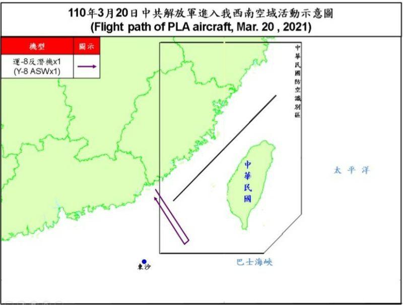 ▲國防部公布今(20)日擾台共機路線圖。(圖/國防部提供)