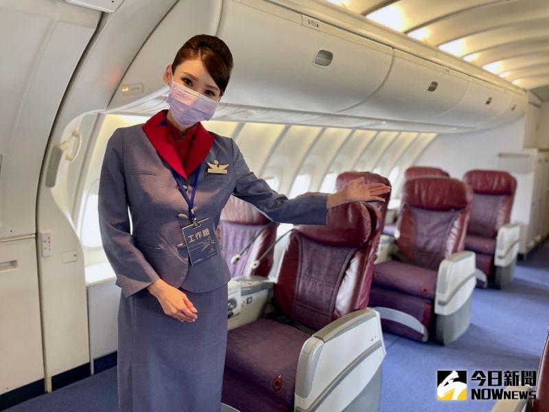 ▲747-400客機採雙層設計,上方設置的商務艙是它特色之一。(圖/記者陳致宇攝)