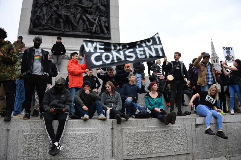 英國倫敦抗議防疫措施