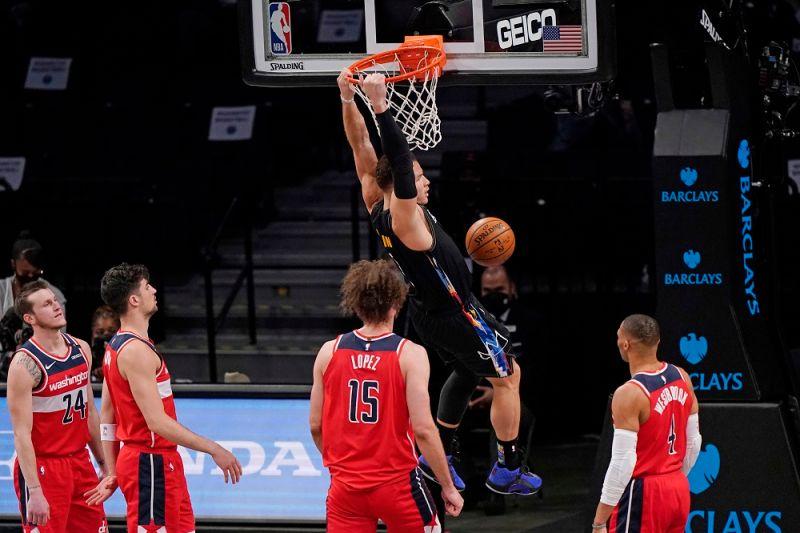 ▲籃網球星Blake Griffin完成本季首扣。(圖/美聯社/達志影像)
