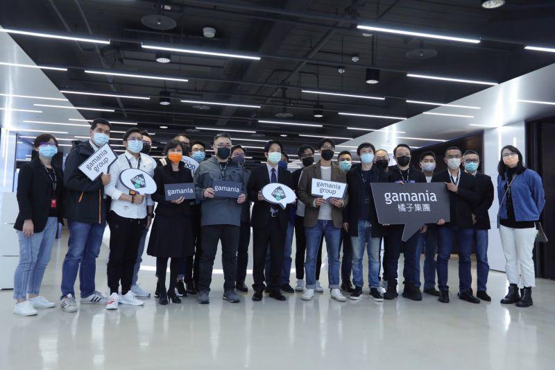 ▲副總統賴清德23日下午參訪Gamania橘子集團,推崇橘子集團致力建構台灣數位媒體平台的精神。(圖/總統府提供)