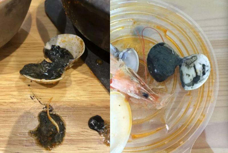 ▲網友分享吃蛤蜊時,一剝開卻發現裡面黑壓壓一片。(圖/Dcard)