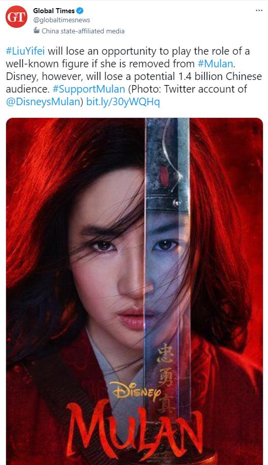 ▲迪士尼也曾差點因為劉亦菲的真人《花木蘭》涉及香港、新疆等敏感議題,引發兩派論戰,差點遭中國以14億人口威脅抵制。(圖/翻攝自環球時報英文版推特)