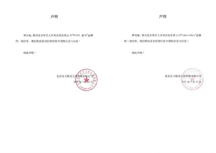 ▲許光漢的公司聲明挺新疆棉。(圖/合力極光微博)