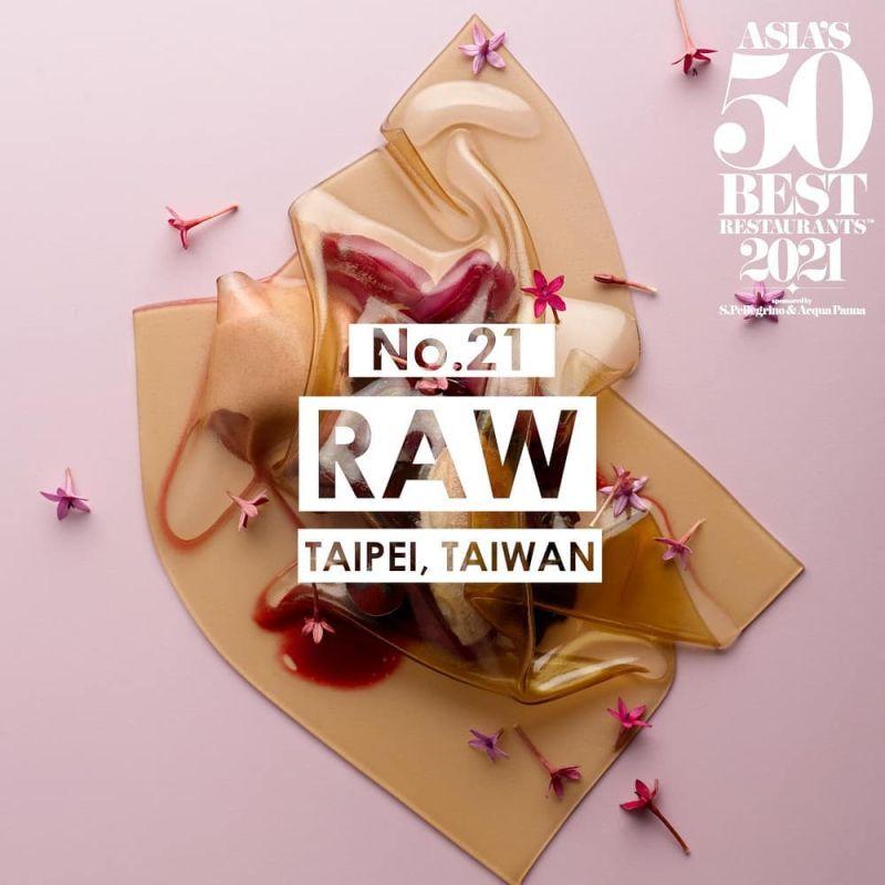 ▲名廚江振誠領軍的RAW今年第六度入選,於2018年拿下台北米其林一星,2019-2020則是摘下二星。