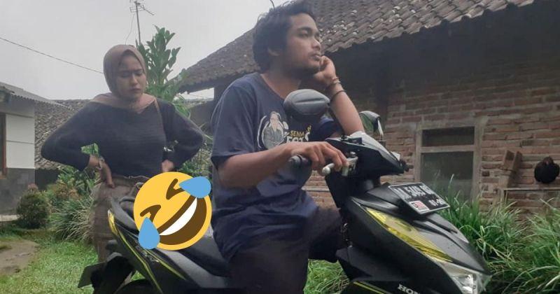 ▲印尼一名男子想出奇招,在機車上加裝長釘子向女朋友證明清白。(圖|翻攝自Khoirul Anam/臉書)