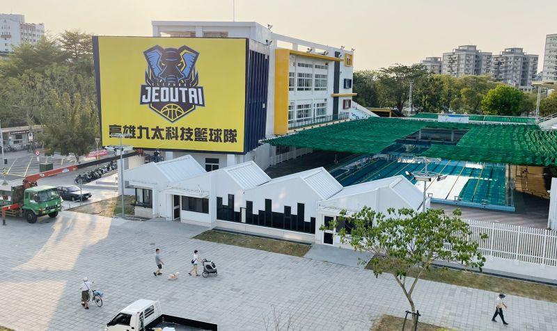 ▲高雄九太科技隊精心佈置,讓鳳山體育館擁有主場的感覺。(圖/九太科技隊提供)