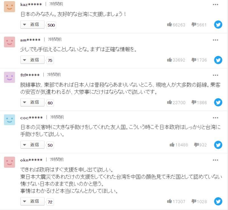 ▲日本網友高度關注台鐵出軌意外,甚至在留言區暖心喊話想幫助台灣。(圖/翻攝Yahoo!JAPAN)
