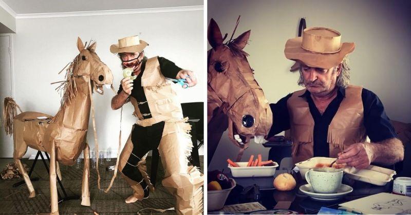 ▲澳洲籍攝影師David Marriott 近期因利用紙袋打造出一匹四隻腳的好夥伴,在苦悶的隔離期間伴隨其側,一夕間在網路上爆紅。 (圖//擷取自David Marriott Instagram)