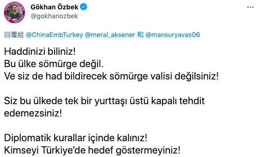 ▲土耳其網友表示,中國不是土耳其的殖民主,中方不應威脅土耳其公民。(圖/翻攝自Twitter)