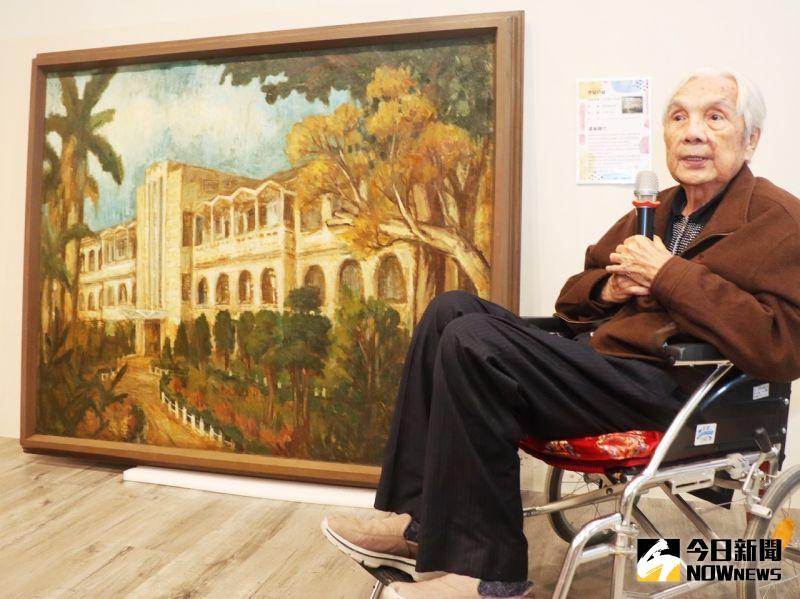 ▲87歲的陳瑞福是高雄第一位能將畫作在國立國父紀念館展出的名畫家。圖/記者陳美嘉攝,2021.04.07)