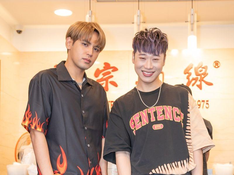 ▲陳零九(左)、小賴為《食尚玩家》造勢。(圖/TVBS)