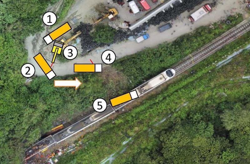 ▲立委管碧玲質疑,挖土機和工程車中間有一條紅色直線,就是挖土機吊帶,而第4走位的紅線代表的是什麼?只有一種可能:吊帶拉斷了(圖,運安會提供)