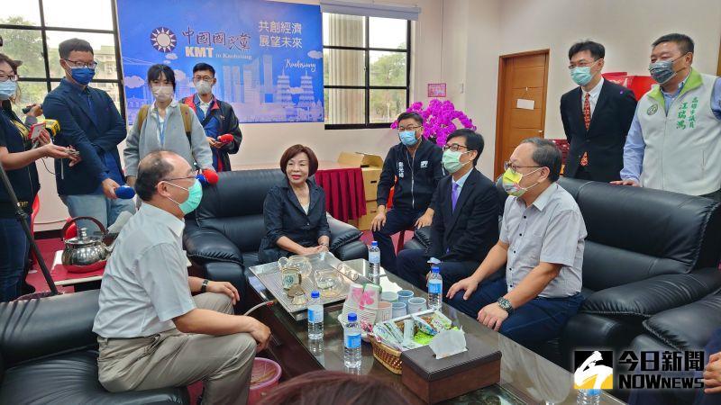 ▲高雄市長陳其邁到國民黨團拜會。(圖/記者鄭婷襄攝,2021.04.09)