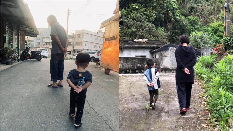網友分享阿公帶大的孩子會這樣走路,吸引2.2萬人朝聖,不少網友認證直呼,阿嬤帶的也一樣。(圖/翻攝自爆廢1公社)