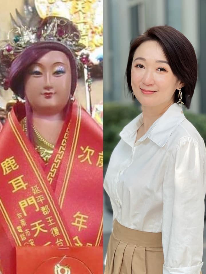 ▲李美萱(右圖)與媽祖神像對比照。(圖/李美萱臉書)