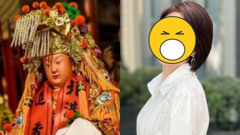 ▲主播李美萱長相激似媽祖。(圖/記者陳明安攝、李美萱臉書)