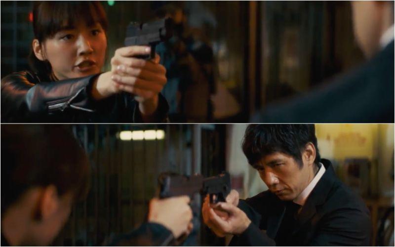 ▲片中,綾瀨遙(上)與西島秀俊一言不合就拿手槍吵架。(圖/龍祥電影)