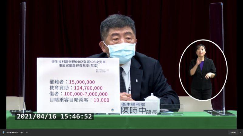 ▲衛福部長陳時中宣布太魯閣號事故善款分配方案。(圖/翻攝自衛福部直播畫面)