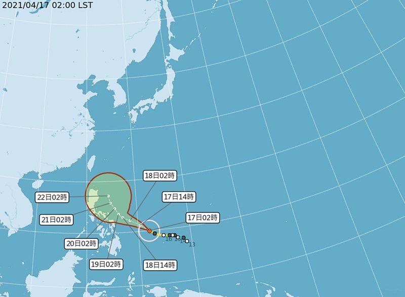 ▲颱風舒力基17日清晨2時中心位於鵝鑾鼻東南方1820公里的海面上,來到菲律賓東方近海預估將逐漸北轉,若北轉過程中較近,可能帶來水氣,但直接影響台灣仍機率偏低。(圖/氣象局)