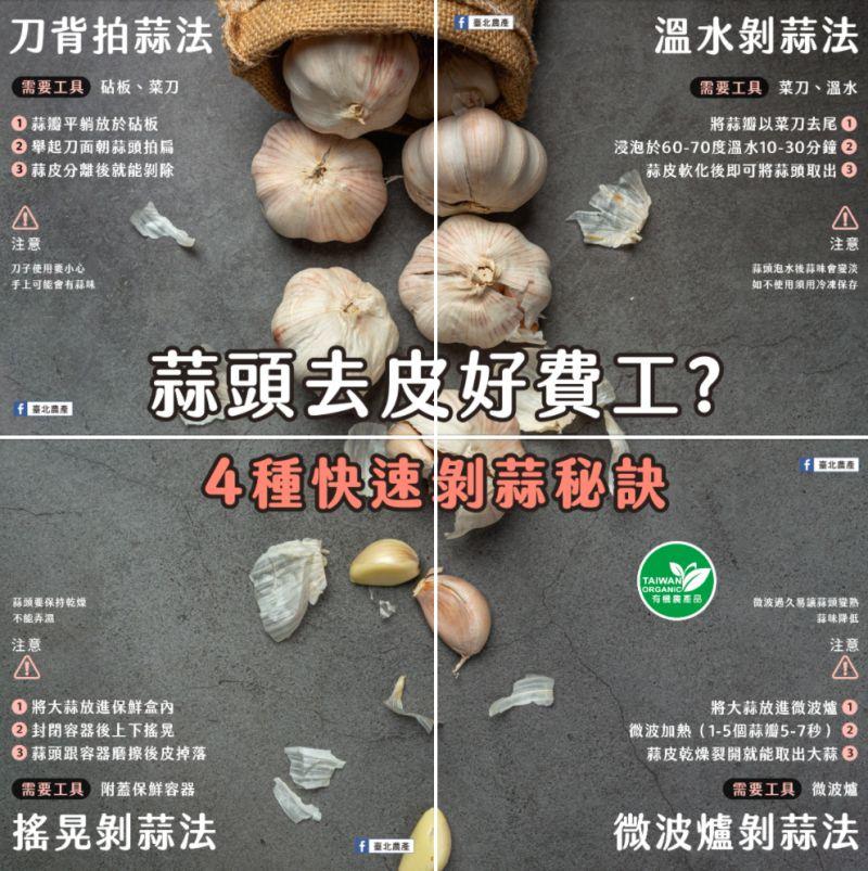 ▲《臺北農產》就在臉書粉專上分享了「4種快速剝蒜秘訣」。(圖/翻攝自《臺北農產》臉書粉專)