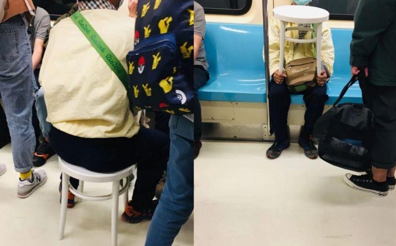 ▲阿伯自帶椅子搭捷運,讓女網友看了笑回「無論何時都有座位可以坐的阿伯,hlod住整個車廂。」(圖/Dcard)