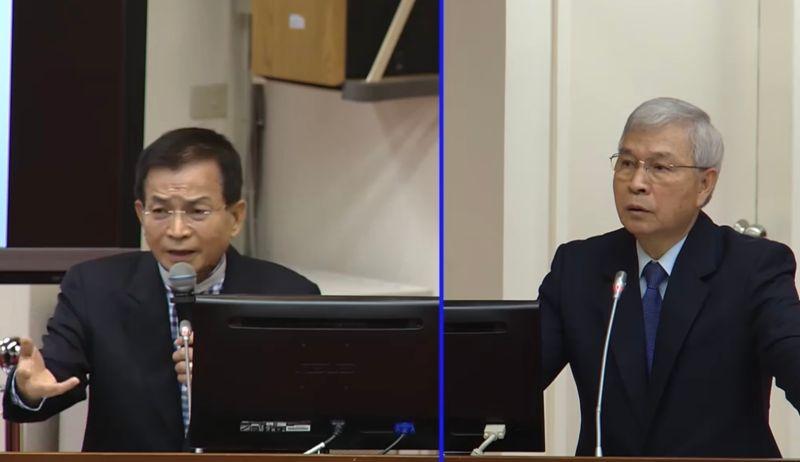 ▲央行茶壺風暴引爆總裁卡位戰?央行總裁楊金龍(右)表示會加強溝通,並強調自己從未要過什麼位置。(圖/擷取自立法院議事轉播)