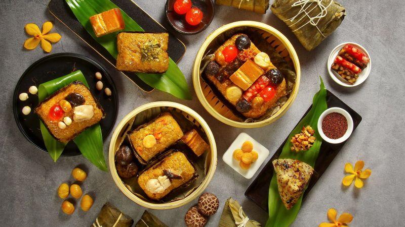▲天成飯店因應端午檔期,也推出「寧式東坡肉粽」與養生素食「紅藜北菇素粽」等創意粽。(圖/天成飯店提供)