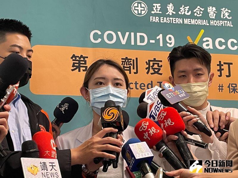 ▲亞東醫院家醫科醫師翁資閔今(21)日受訪時,分享接種AZ疫苗的經驗。(圖/記者陳志仁攝,2021.04.21)
