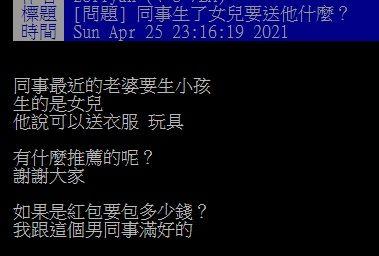▲有網友在PTT發問「同事生了女兒要送他什麼?」結果全場一致狂推「紅包」,直呼「最實在又不怕重複」。(圖/翻攝自PTT)