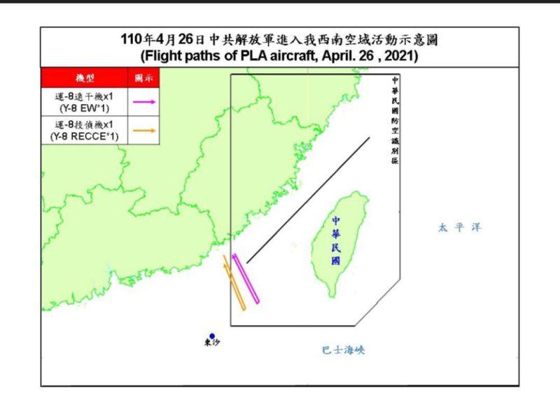 ▲國防部今(26)日公布共機擾台路線示意圖。(圖/國防部提供)