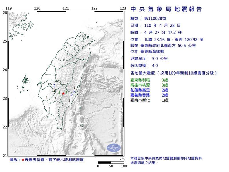 ▲清晨4時27分,芮氏規模4.0地震。(圖/翻攝自中央氣象局官網)