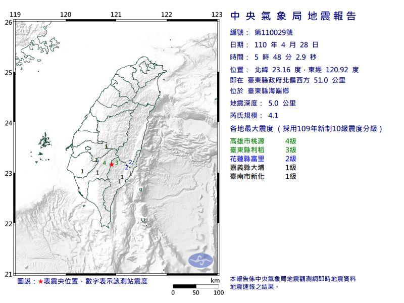 ▲清晨5時48分,芮氏規模4.1地震。(圖/翻攝自中央氣象局官網)