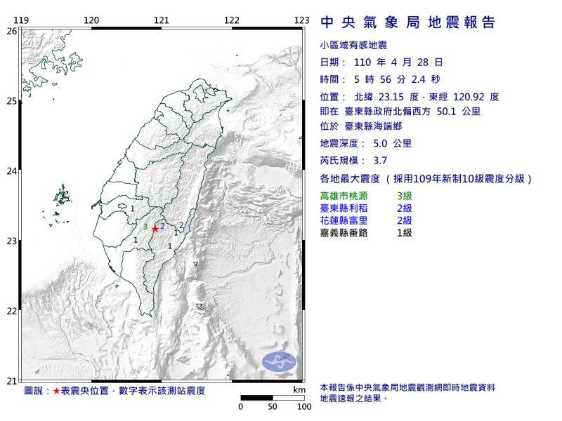 ▲▲清晨5時56分,芮氏規模3.7地震。(圖/翻攝自中央氣象局官網)