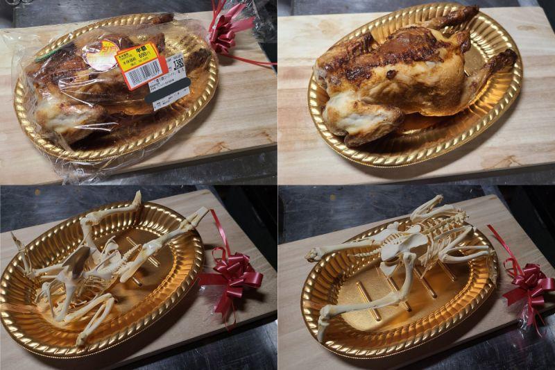 ▲原PO吃完這隻烤雞後,將上頭殘餘的肉從骨頭分離,最後再組裝起來。(圖/翻攝自《@sakanakudo》Twitter