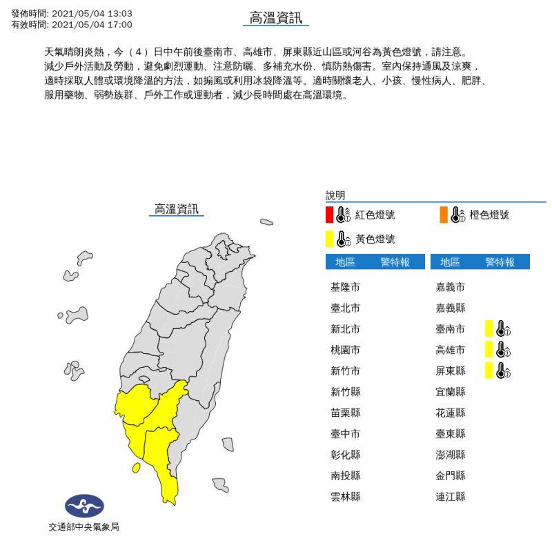▲中央氣象局今(4)日針對台南、高雄、屏東發布高溫資訊黃色燈號。(圖/中央氣象局提供)