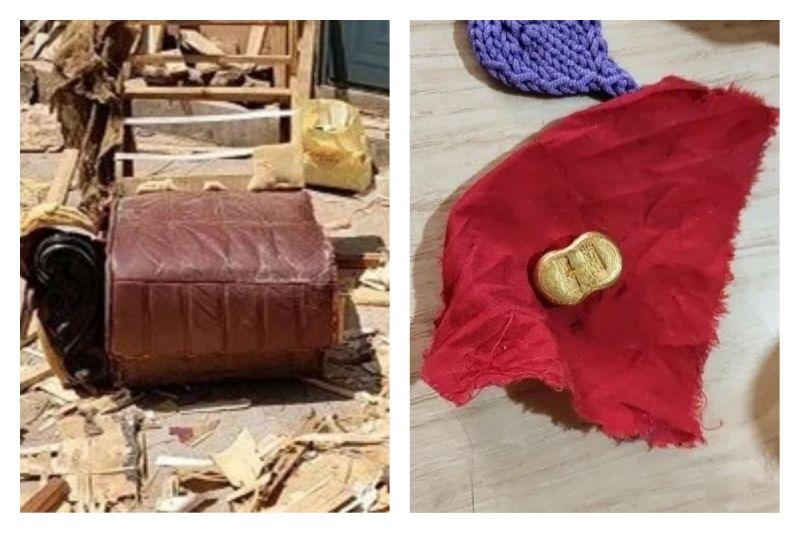 ▲中國大陸青島一位男子,竟在路邊撿回家的破沙發中,發現黃金和一筆現金。(圖/翻攝自《青島晚報》)