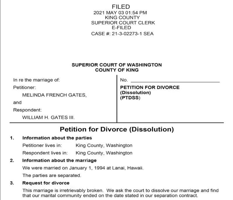 ▲比爾蓋茲的妻子梅琳達提交訴請離婚文件,稱婚姻出現「無法挽回的破裂」。(圖/翻攝自每日郵報)