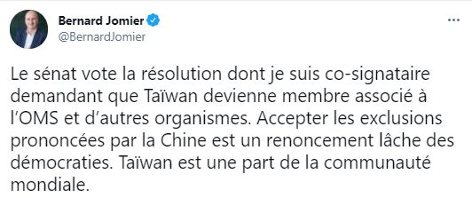 ▲▼法國多位國會議員陸續在推特等平台上,表達對台灣的支持。(圖/翻攝自推特)