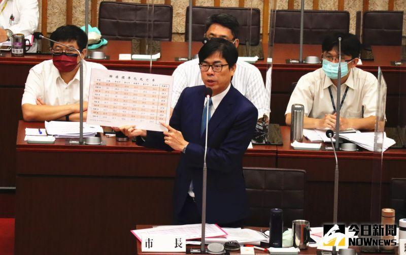 ▲陳其邁今日到議會內進行高雄市環境汙染防制作為專案報告。(圖/記者鄭婷襄攝,2021.05.07)