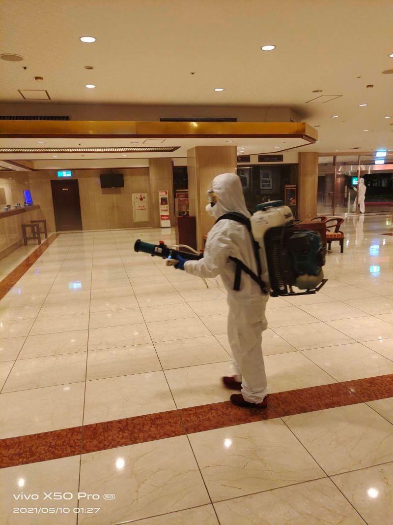 ▲福華飯店因確診者到訪,全面消毒。(圖/業者提供)