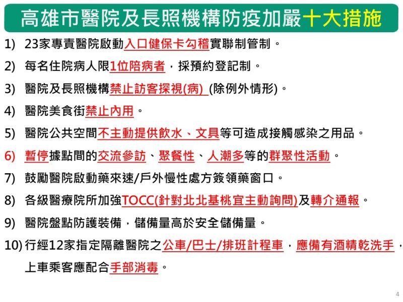 ▲高雄市醫院及長照機構防疫加嚴10大措施。(圖/高市府提供)