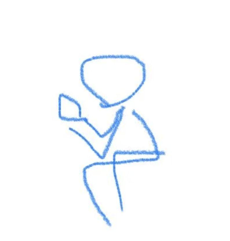 ▲原PO更畫上示意圖,從照片中可以看到姿勢非常放鬆。(圖/翻攝自網路論壇《Dcard》)