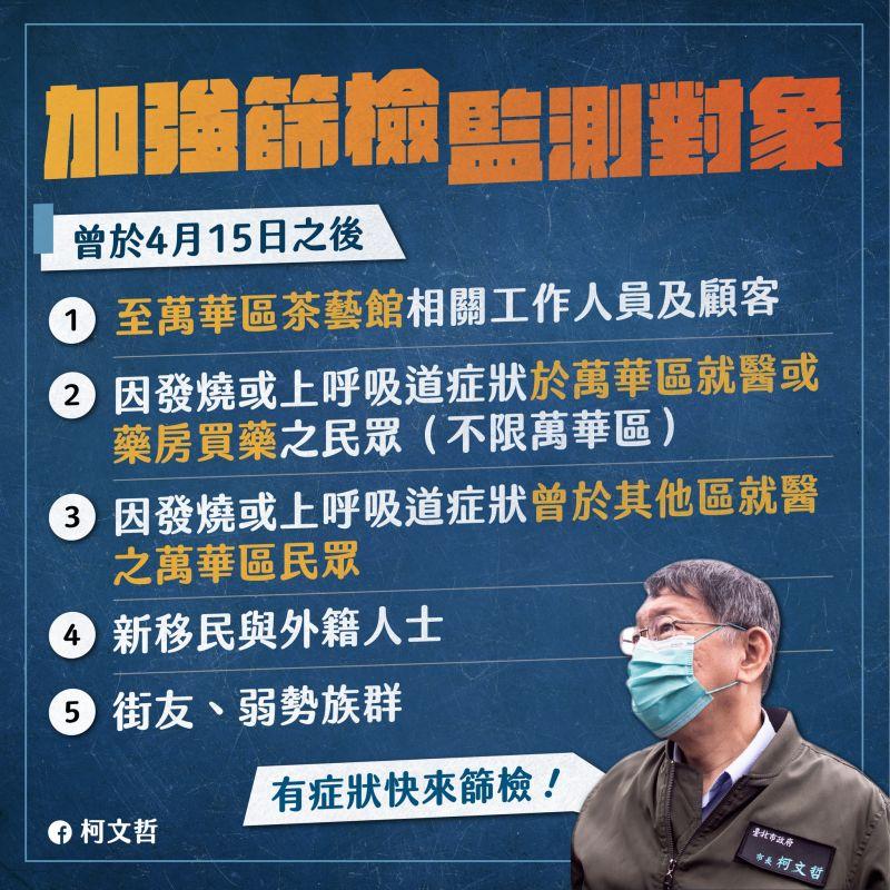 ▲本土病例激增,北市府強化萬華區篩檢。(圖/北市府提供)
