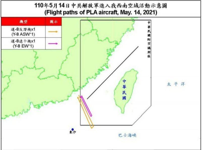 ▲國防部14日公布共機擾台路線。(圖/國防部提供)