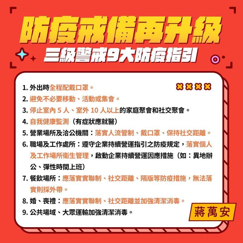 ▲蔣萬安呼籲大家遵守9大防疫措施。(圖/翻攝自蔣萬安臉書)