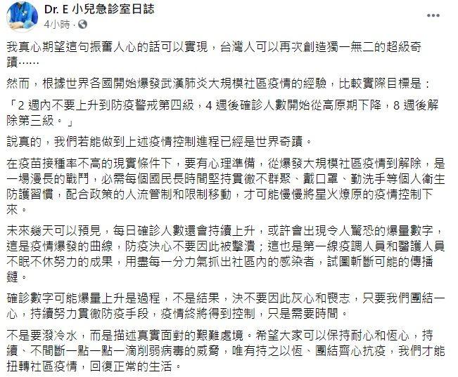 ▲疫情持續升溫,有網友就在推特直喊「看好了世界!台灣人只示範一次,在兩周內解除三級」。對此,謝宗學醫師今早在臉書曝光「實際目標」,直言「我們若能做到上述疫情控制進程已經是世界奇蹟。」(圖/翻攝自臉書粉專「Dr.